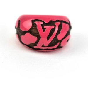 """Louis Vuitton Jewelry - LOUIS VUITTON: Hot Pink, """"LV"""" Logo Carved Ring (q)"""